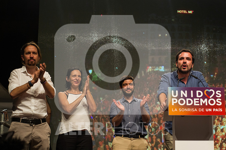 Spanish politician Pablo Iglesias, Alberto Garzon and Inigo Errejon of Unidos Podemos party, after the results of the national elections at plaza Reina Sofia, Spain. 26,06,2016. (ALTERPHOTOS/Rodrigo Jimenez)