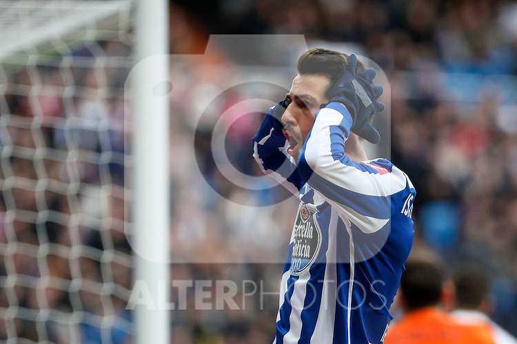 Deportivo de la Courna´s Isaac Cuenca regrets during La Liga match at Santiago Bernabeu stadium in Madrid, Spain. February 14, 2015. (ALTERPHOTOS/Victor Blanco)
