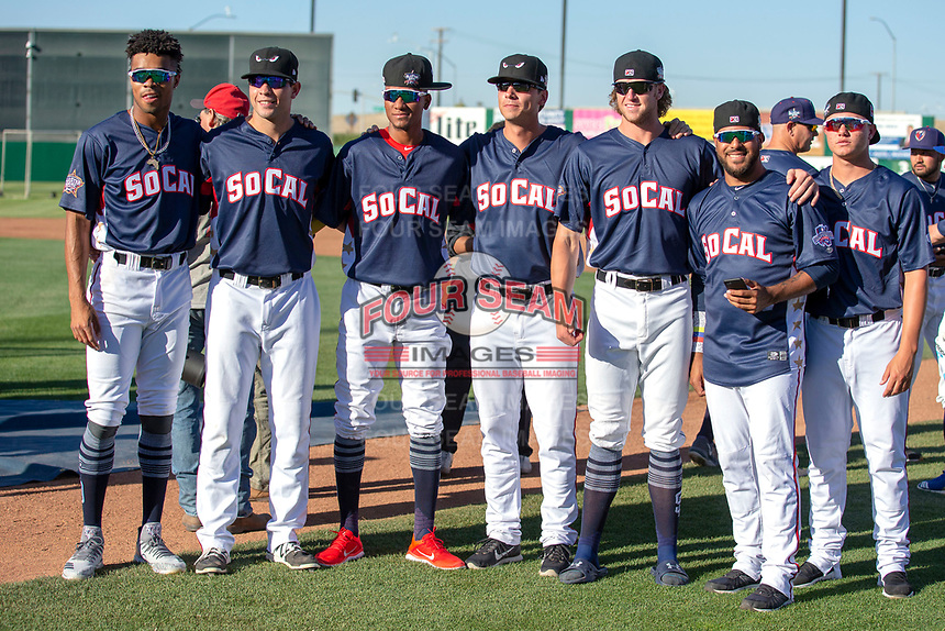 Representatives of the Lake Elsinore Storm pose for a photograph prior to the 2018 California League All-Star Game at The Hangar on June 19, 2018 in Lancaster, California. The North All-Stars defeated the South All-Stars 8-1.  (Donn Parris/Four Seam Images)