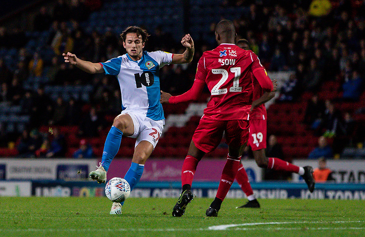 Blackburn Rovers' Lewis Travis competing with Nottingham Forest's Samba Sow (right) <br /> <br /> Photographer Andrew Kearns/CameraSport<br /> <br /> The EFL Sky Bet Championship - Blackburn Rovers v Nottingham Forest - Tuesday 1st October 2019  - Ewood Park - Blackburn<br /> <br /> World Copyright © 2019 CameraSport. All rights reserved. 43 Linden Ave. Countesthorpe. Leicester. England. LE8 5PG - Tel: +44 (0) 116 277 4147 - admin@camerasport.com - www.camerasport.com