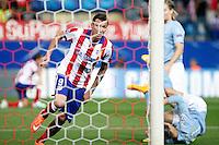 Mandzukic of Atletico de Madrid scores during Champios Legue soccer match between Atletico de Madrid V Malmoe al Vicente Calderon Stadium. October 22, 2014. (ALTERPHOTOS/Caro Marin)