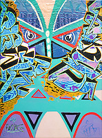"""""""Face 1""""  Graffiti art picture by Tom Randall Williams with Graffiti face, type & designs  on a blue background"""