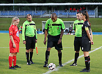 From left to right; Woluwe's captain Jana Simons (8), linesman Mohamed Tesouli, referee Franck Tank, Maxime Fievet and Essevee's captain Romy Camps (3) pictured at the coin toss before a female soccer game between FC Femina White Star Woluwe and Dames Zulte Waregem  on the first matchday of the 2020 - 2021 season of Belgian Women's SuperLeague , Friday 28 of August 2020  in Sint Lambrechts Woluwe , Belgium . PHOTO SPORTPIX.BE | SPP | SEVIL OKTEM