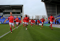 Fleetwood Town warming up prior to the Sky Bet League 1 match between Shrewsbury Town and Fleetwood Town at Greenhous Meadow, Shrewsbury, England on 21 October 2017. Photo by Leila Coker / PRiME Media Images.
