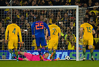 Australia Daniel Vukovic saving Colombia penalty shot during the International Friendly match between Colombia and Australia at Craven Cottage, London, England on 27 March 2018. Photo by Andrew Aleksiejczuk / PRiME Media Images.