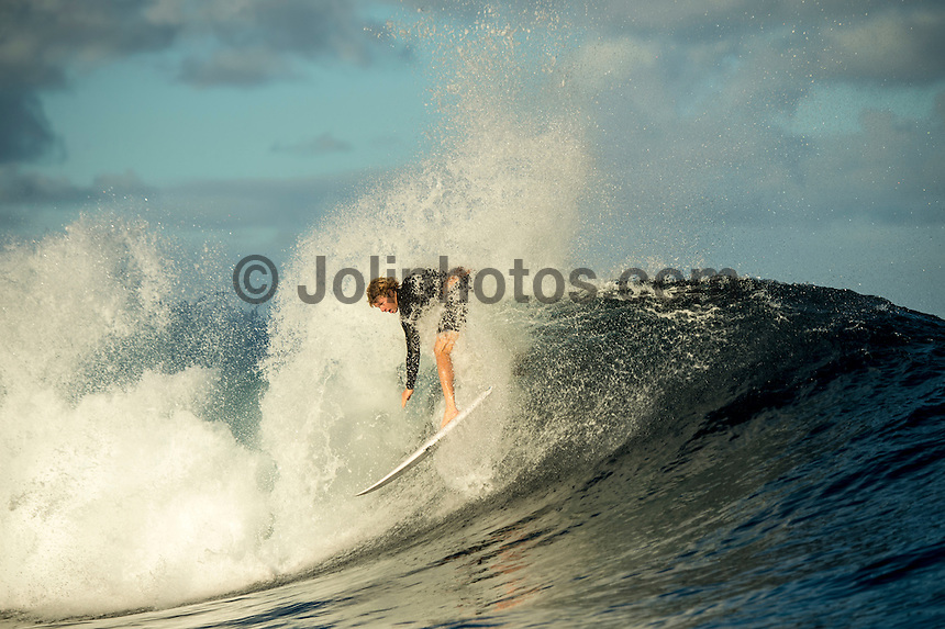 Namotu Island Resort, Nadi, Fiji (Sunday, June 12 2016): John John Florence (HAW) - The Fiji Pro, stop No. 5 of 11 on the 2016 WSL Championship Tour, was called off again today due to the lack of contestable swell at Cloudbreak. The contest is still facing a number of lay days due to the small surf conditions.  There was a slight increase in the swell this morning and the winds had moved back to light Trades. Photo: joliphotos.com