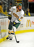 16 November 2008: University of Vermont Catamount defenseman Josh Burrows, a Sophomore from Prairie Grove, IL, in action against the visiting Merrimack College Warriors at Gutterson Fieldhouse, in Burlington, Vermont. The Catamounts defeated the Warriors 2-1 in front of a near-capacity crowd of 3,813...Mandatory Photo Credit: Ed Wolfstein Photo