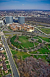 Aerial view of the Iowa Jima memorial and Rosslyn, Virginia and Potomac River
