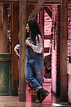 Stephanie Klemons from 'Hamilton' greet High School students from The Rockefeller Foundation, and The Gilder Lehrman Institute of American History before a 'Hamilton' matinee performance at the Richard Rodgers Theatre on 11/30/2016 in New York City.