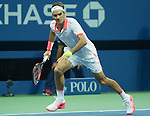 Roger Federer (SUI) defeats Steve Darcie (BEL) 6-1, 6-2, 6-1 at the US Open in Flushing, NY on September 3, 2015.