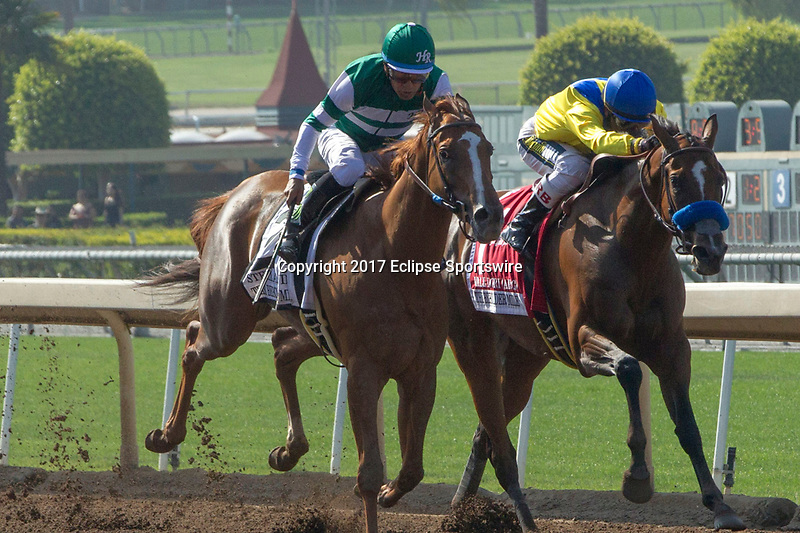 ARCADIA, CA. JUNE 3: #2 Stellar Wind ridden by Victor Espinoza runs down #1 Vale Dori ridden by Rafael Bejarano in the stretch of the Beholder Mile on June 3, 2017 at Santa Anita Park, in Arcadia, CA. (Photo by Casey Phillips/Eclipse Sportswire/Getty Images)