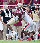Florida State wide receiver Nyqwan Murray gets hit by North Carolina State cornerback Jonathan Alston after a reception and run in the first half of an NCAA college football game in Tallahassee, Fla., Saturday, Sept. 23, 2017.  NC State defeated Florida State 27-21. (AP Photo/Mark Wallheiser)