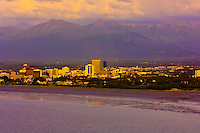 Aerial view over the Cook Inlet looking to Downtown Anchorage, Alaska