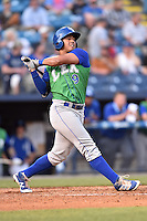 Lexington Legends first baseman Samir Duenez (9) swings at a pitch during a game against the Asheville Tourists at McCormick Field on April 18, 2016 in Asheville, North Carolina. The Legends defeated the Tourists 7-5. (Tony Farlow/Four Seam Images)