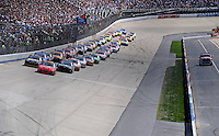 Sept. 21, 2008; Dover, DE, USA; Nascar Sprint Cup Series driver Jeff Gordon leads the field during the Camping World RV 400 at Dover International Speedway. Mandatory Credit: Mark J. Rebilas-