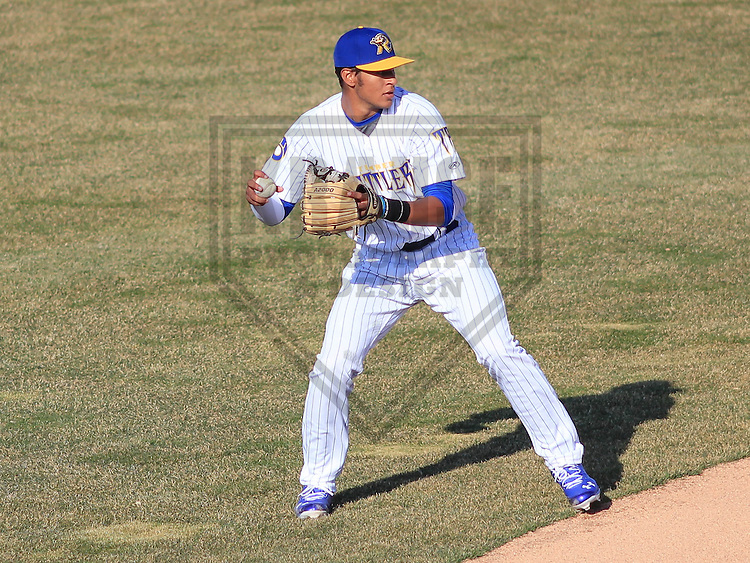 APPLETON - April 2015: shortstop Jake Gatewood (2) of the Wisconsin Timber Rattlers during a game against the Peoria Chiefs on April 12th, 2015 at Fox Cities Stadium in Appleton, Wisconsin. (Photo Credit: Brad Krause)