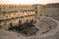 The Royal Ballet, Covent Garden, take class on the stage of the open-air Aspendos Theatre in Antalya, Turkey