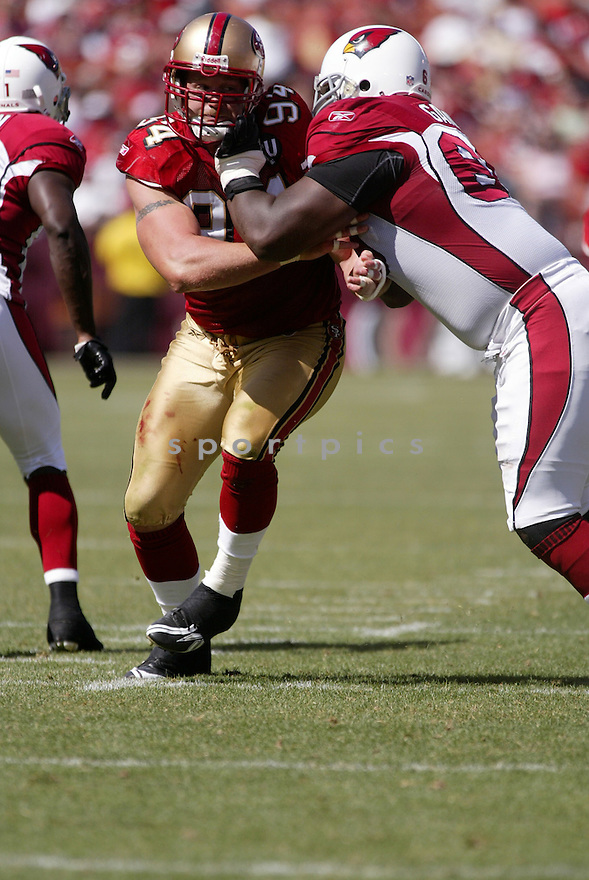 JUSTIN SMITH, of the San Francisco 49ers, in action during the  49ers game against the  Arizona Cardinals  on September 7, 2008 in San Francisco, California...The San Francisco 49ers win 23-13