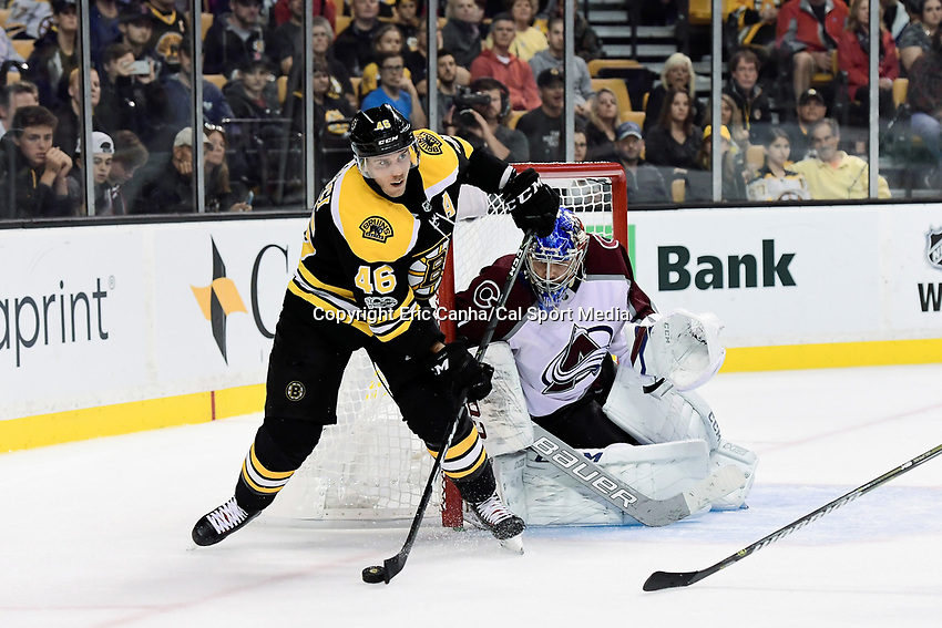 October 9, 2017: Boston Bruins center David Krejci (46) passes the puck during the NHL game between the Colorado Avalanche and the Boston Bruins held at TD Garden, in Boston, Mass. Colorado defeats Boston 4-0. Eric Canha/CSM