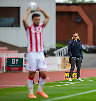 4th July 2020; Bet365 Stadium, Stoke, Staffordshire, England; English Championship Football, Stoke City versus Barnsley; Barnsley manager Gerhard Struber watches the game