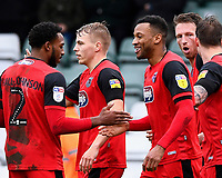 Wes Thomas of Grimsby Town celebrates scoring the second goal with Reece Hall-Johnson of Grimsby Town during Yeovil Town vs Grimsby Town, Sky Bet EFL League 2 Football at Huish Park on 9th February 2019
