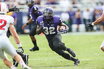 TCU Horned Frogs running back Waymon James (32) in action during the game between the SMU Mustangs and the TCU Horned Frogs at the Amon G. Carter Stadium in Fort Worth, Texas. TCU defeats SMU 48 to 17.
