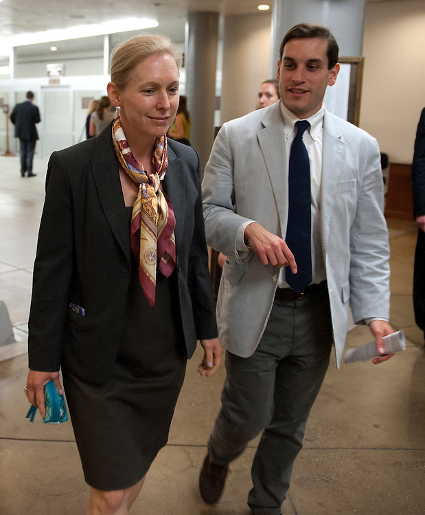 UNITED STATES - July 18: Sen. Kristen Gillibrand, D-NY., makes her way to the Senate policy luncheons through the Senate subway in the U.S. Capitol on July 18, 2013. (Photo By Douglas Graham/CQ Roll Call)