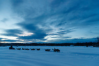 Paige Drobny runs on the trail as the sun begins to rise shortly after leaving the Kaltag checkpoint on Sunday March 10th during the 2019 Iditarod Trail Sled Dog Race.<br /> <br /> Photo by Jeff Schultz/  (C) 2019  ALL RIGHTS RESERVED