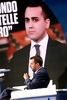 Matteo Salvini and on the screen Luigi Di Mail<br /> Rome May 22nd 2019. The Italian Minister of Internal Affairs appears as a guest on the tv show Porta a Porta<br /> Foto Samantha Zucchi Insidefoto