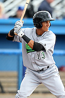 Jamestown Jammers shortstop Yefri Perez #13 during a game against the Batavia Muckdogs at Dwyer Stadium on June 26, 2011 in Batavia, New York.  Jamestown defeated Batavia 6-2.  (Mike Janes/Four Seam Images)