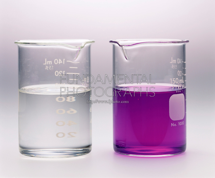 LIQUID-LIQUID EXTRACTION: SEPARATION OF MIXTURES<br /> Dichloromethane (left) is colorless<br />  Solution of crystal violet in water is violet (right).  Crystal violet is soluble in both dichloromethane &amp; water. The two solvents are immiscible.