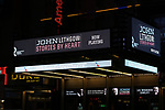 """Theatre Marquee for the Broadway Opening Night Performance of """"John Lithgow: Stories by Heart"""" at the American Airlines Theatre on January 11, 2018 in New York City."""