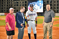 South Atlantic League President Eric Krupa presents the Defender of the Game award to Nick Maton (6)  of the Lakewood BlueClaws after the South Atlantic League All Star Game at First National Bank Field on June 19, 2018 in Greensboro, North Carolina. The game Southern Division defeated the Northern Division 9-5. (Tony Farlow/Four Seam Images)