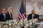 United States President Barack Obama meets with his National Security Council at the State Department, February 25, 2016 in Washington, DC. At left, Secretary of Defense Ash Carter and Secretary of State John Kerry. According to the White House, the meeting will focus on the situation with ISIS and Syria, along with other regional issues.<br /> Credit: Drew Angerer / Pool via CNP