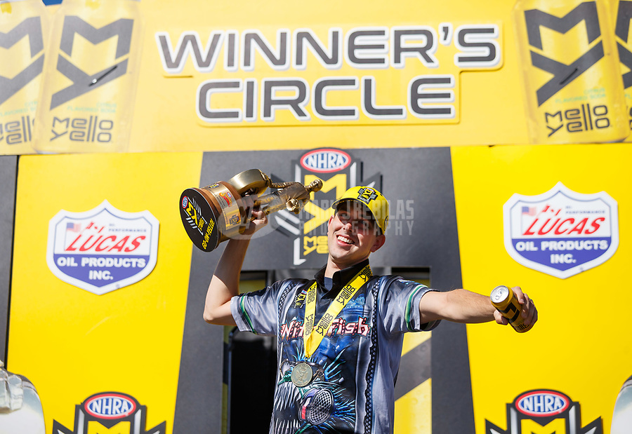 May 7, 2017; Commerce, GA, USA; NHRA pro stock motorcycle rider L.E. Tonglet celebrates after winning the Southern Nationals at Atlanta Dragway. Mandatory Credit: Mark J. Rebilas-USA TODAY Sports