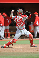 University of Houston Cougers catcher Caleb Barker (27) during game game 1 of a double header against the Rutgers University Scarlet Knights at Bainton Field on April 5, 2014 in Piscataway, New Jersey. Rutgers defeated Houston 7-3.      <br />  (Tomasso DeRosa/ Four Seam Images)