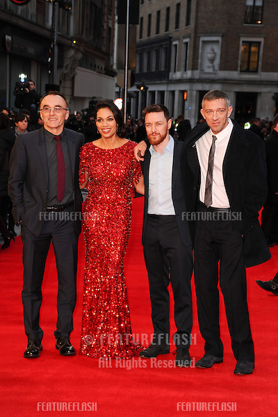 Vincent Cassel, James McAvoy, Rosario Dawson and Danny Boyle arriving for the 'Tance' UK Premiere, Odeon Leicester Square, London.  19/03/2013 Picture by: Steve Vas / Featureflash