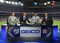 HOUSTON - OCTOBER 22: Kevin Burkhardt, Alex Rodriguez, David Ortiz, and Frank Thomas at World Series Game 1: Washington Nationals at Houston Astros on Fox Sports at Minute Maid Park on October 22, 2019 in Houston, Texas. (Photo by Frank Micelotta/Fox Sports/PictureGroup)