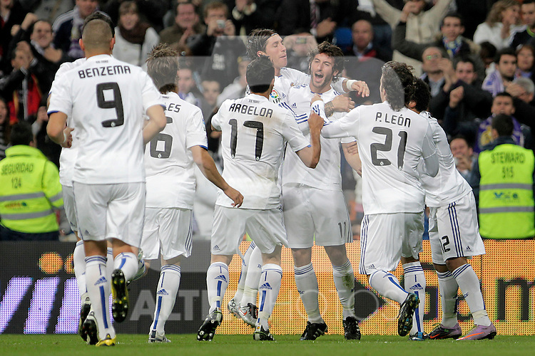 Real Madrid's Karim Benzema, Sergio Canales, Alvaro Arbeloa, Sergio Ramos, Esteban Granero, Pedro Leon and Marcelo Vieira celebarte goal during King's Cup match.November 10,2010. (ALTERPHOTOS/Acero)