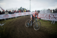 Lars Van der Haar (NLD) skidding through the corner<br /> <br /> Elite Men's race<br /> <br /> 2015 UCI World Championships Cyclocross <br /> Tabor, Czech Republic