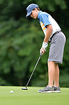 Joseph Hyten of the Sunset Hills Country Club watches his putt on the third green on the first day of the Metropolitan Amateur Golf Association's 20th Junior Amateur Championship being held at the St. Clair Country Club in Belleville, IL on July 1, 2019. <br /> Tim Vizer/Special to STLhighschoolsports.com