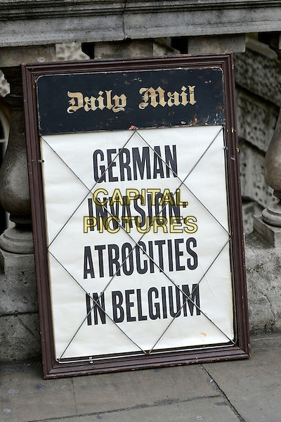 Daily Mail sign<br /> Filming on the set of 'Fleming' where Dominic Cooper stars as Ian Fleming, Central London, England.<br /> 29th June 2013<br /> tv mini series gv general view german invasion atrocities in belgium<br /> CAP/IA<br /> &copy;Ian Allis/Capital Pictures