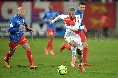 04.03.2016. Caen, France. French League 1 football. Caen versus Monaco.  Kylian MBAPPE LOTTIN (mon) breaks away from the attention of  Alexandre RAINEAU (caen)