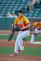 Salt Lake Bees starting pitcher Parker Bridwell (6) delivers a pitch to the plate against the Oklahoma City Dodgers at Smith's Ballpark on August 1, 2019 in Salt Lake City, Utah. The Bees defeated the Dodgers 14-4. (Stephen Smith/Four Seam Images)