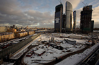 The contruction site of  Russia Tower, designed by architect Norman Foster, lays idle in an area known as Moscow City in Moscow. The British architect became the latest high-profile victim of the global economic crisis when developers in Russia said they were scrapping plans to build his design for Europe's tallest skyscraper..Moscow's 600-metre high Russia Tower would no longer be constructed, real estate magnate Shalva Chigirinsky said. His firm had run out of money, he admitted....Picture by Justin Jin.