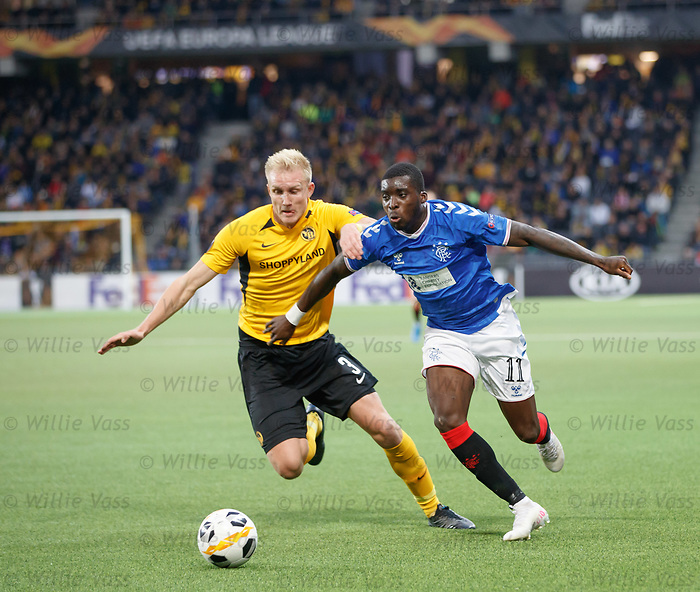 03.10.2019 Young Boys of Bern v Rangers: Sheyi Ojo and Frederik Sorensen