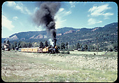Excursion train passing Hermosa tank.<br /> D&amp;RGW  Hermosa, CO