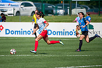 Kansas City, MO - Saturday September 9, 2017: Christen Press, Christina Gibbons during a regular season National Women's Soccer League (NWSL) match between FC Kansas City and the Chicago Red Stars at Children's Mercy Victory Field.