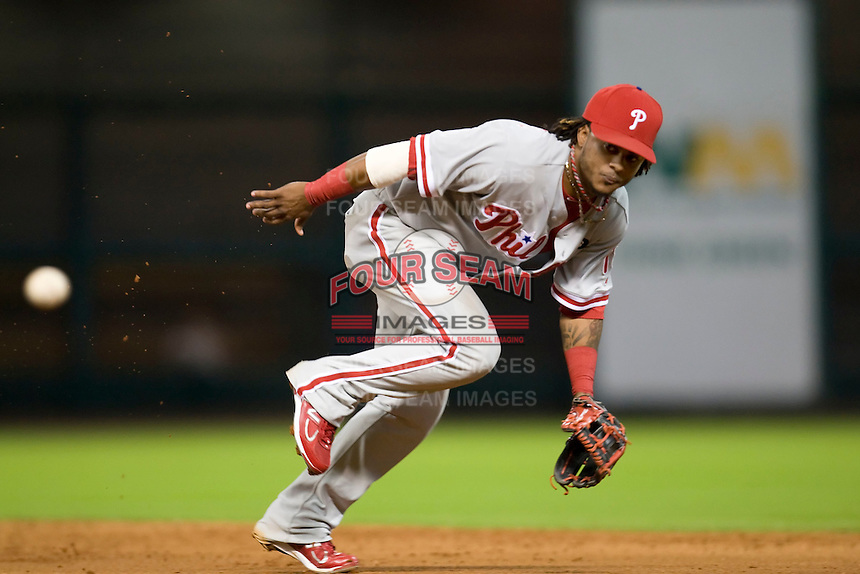 Philadelphia Phillies second baseman Michael Martinez #19 on defense during the Major League Baseball game against the Houston Astros at Minute Maid Park in Houston, Texas on September 13, 2011. Houston defeated Philadelphia 5-2.  (Andrew Woolley/Four Seam Images)