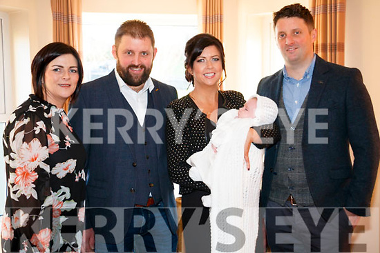 Ollie O'Shea Christening in Brooklane on Saturday 3rd. <br /> L-R: Tracy Feehan, Niall O'Shea, Fiona O'Shea, Ollie O'Shea (baby) and Kieran O'Shea